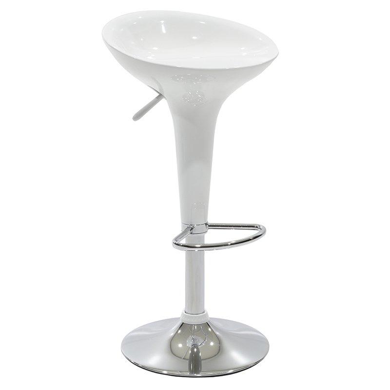Σκαμπό μπαρ Felice pakoworld πτυσσόμενο μεταλλικό χρωμίου με ABS χρώμα λευκό
