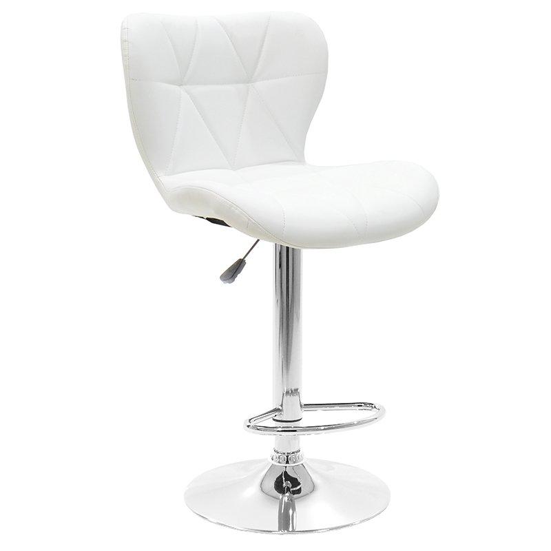 Σκαμπό μπαρ Cozi pakoworld πτυσσόμενο μεταλλικό χρωμίου με PVC χρώμα λευκό