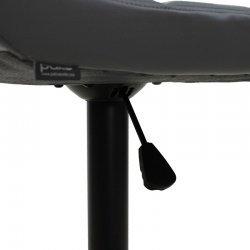 Σκαμπό μπαρ Remina pakoworld πτυσσόμενο μεταλλικό μαύρο ματ με PU χρώμα γκρι