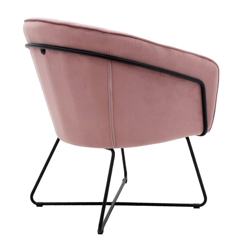 Πολυθρόνα Hollis pakoworld  βελούδο ροζ 67x64x82εκ