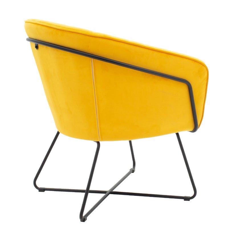 Πολυθρόνα Hollis pakoworld βελούδο κίτρινο 67x64x82εκ