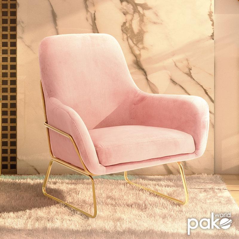 Πολυθρόνα Amory pakoworld βελούδο ροζ 74x75x85εκ