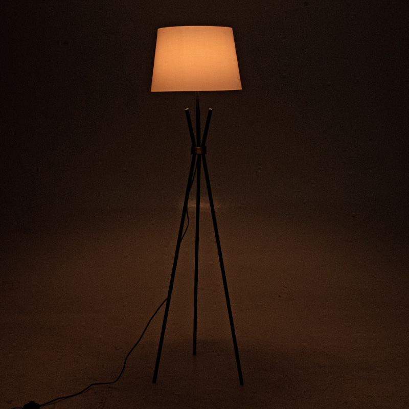 Μεταλλικό μαύρο ματ-μπρονζέ φωτιστικό δαπέδου PWL-0003 pakoworld E27 λευκό καπέλο Φ33-38x161εκ