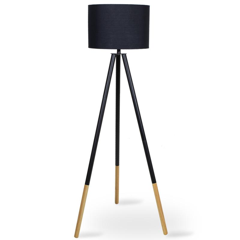 Μεταλλικό φωτιστικό δαπέδου PWL-0004 pakoworld E27 ξύλινα πόδια-μαύρο καπέλο Φ41x155εκ