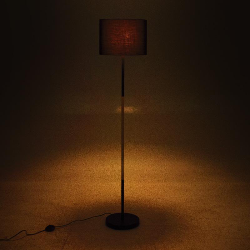 Μεταλλικό φωτιστικό δαπέδου PWL-0005 E27 pakoworld με μαύρο καπέλο Φ33x149εκ