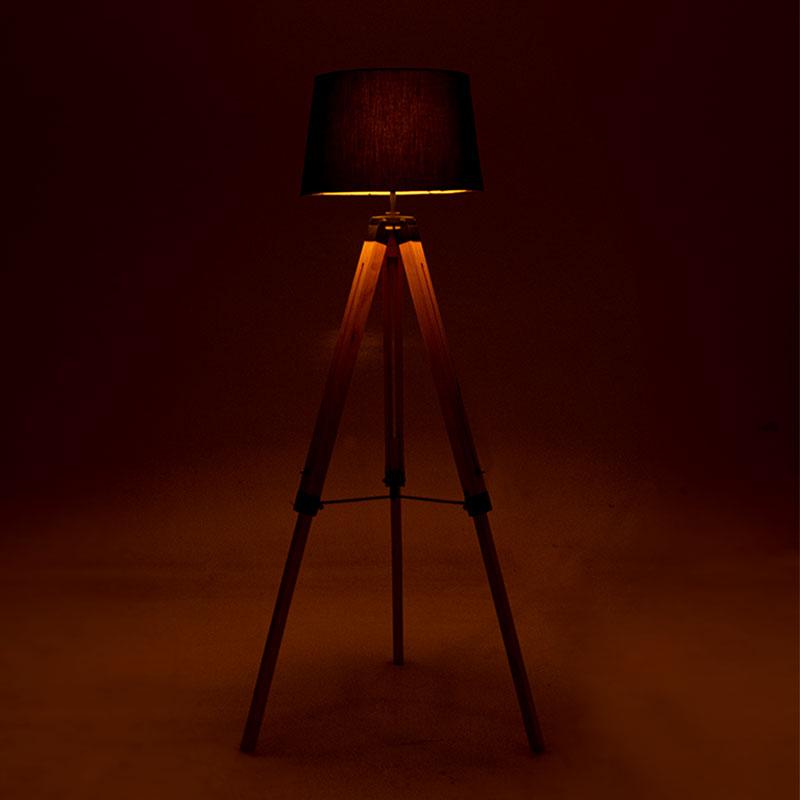 Ρυθμιζόμενο φωτιστικό δαπέδου PWL-0008 pakoworld φυσικό ξύλο-καπέλο μαύρο Φ34-41x65x145εκ