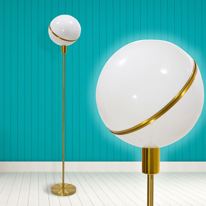 Μεταλλικό φωτιστικό δαπέδου PWL-0023 pakoworld ακρυλικό λευκό-χρυσό χρώμα 28x28x158εκ