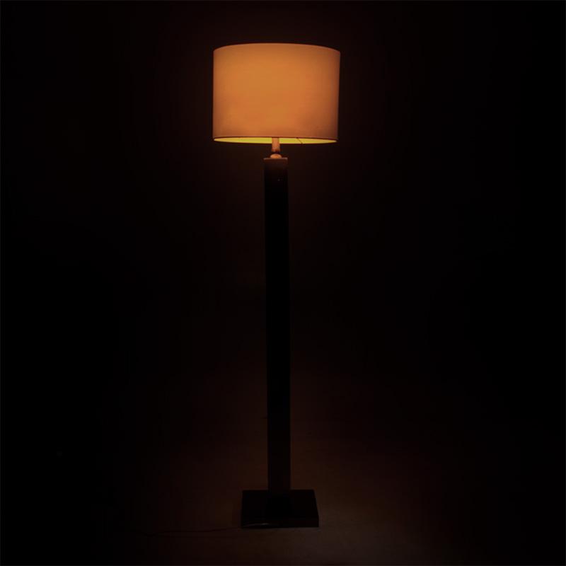 Μεταλλικό φωτιστικό δαπέδου PWL-0940 pakoworld ασημί-μαύρο-γκρι καπέλο 43x43x153εκ