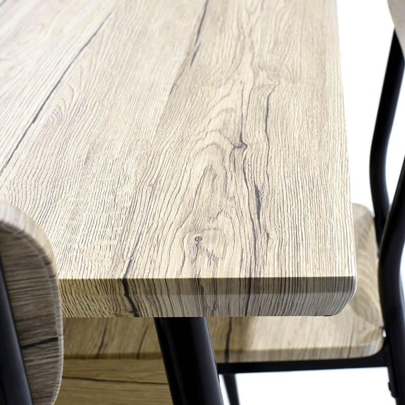 Σετ τραπεζαρία Rina pakoworld 5 τμχ επιφάνεια MDF χρώμα sonoma oak black matte