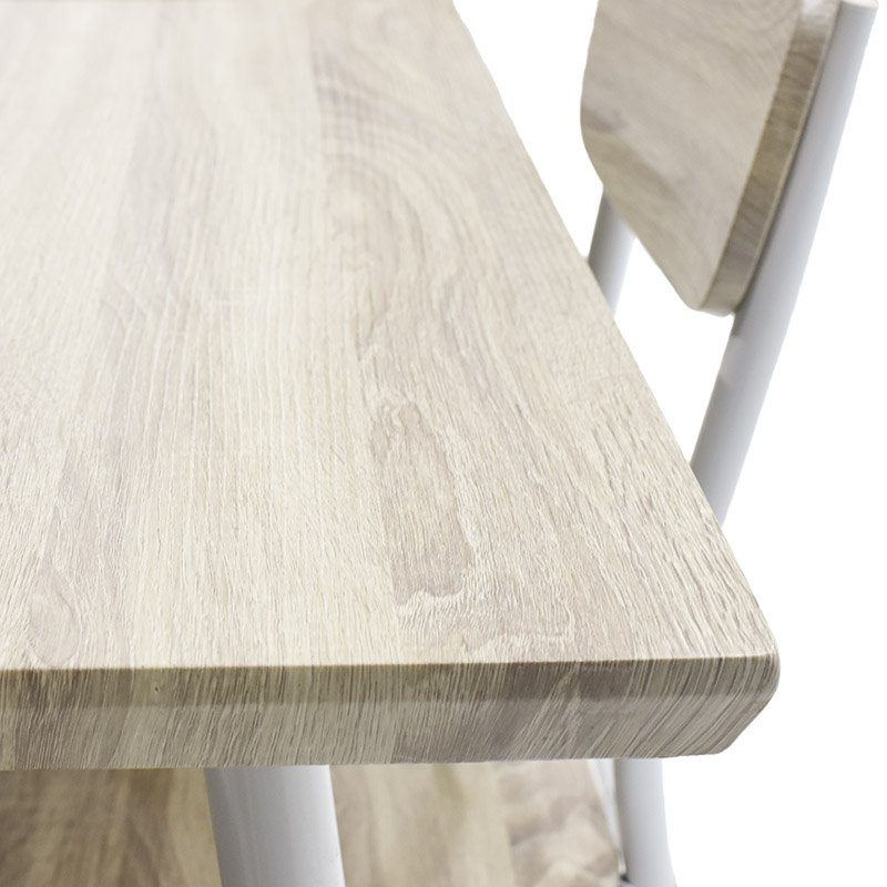 Σετ τραπεζαρία Rina pakoworld 5 τμχ επιφάνεια MDF χρώμα sonoma oak white matte