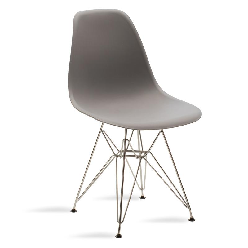 Καρέκλα Claus pakoworld πολυπροπυλενίου γκρι χρώμα-πόδια ΙΝΟΧ