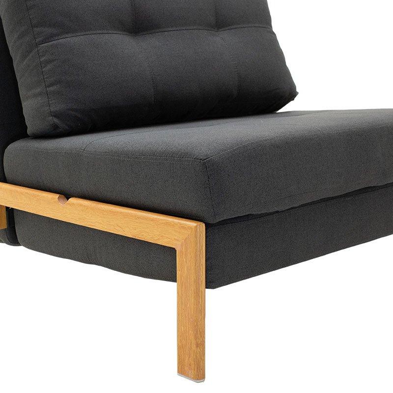 Πολυθρόνα - κρεβάτι Fancy pakoworld με ύφασμα ανθρακί 96x92x70εκ