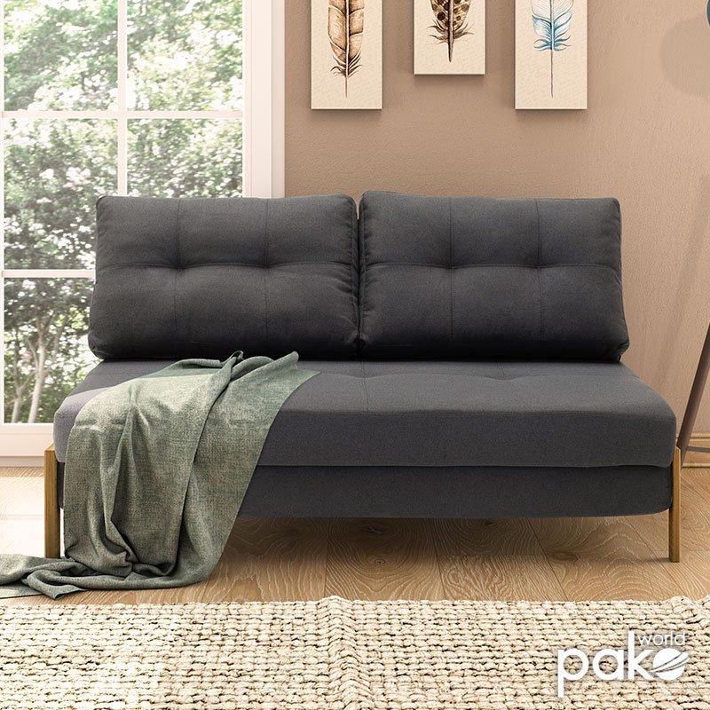 Καναπές 2θέσιος - κρεβάτι Fancy pakoworld με ύφασμα ανθρακί 150x92x77εκ