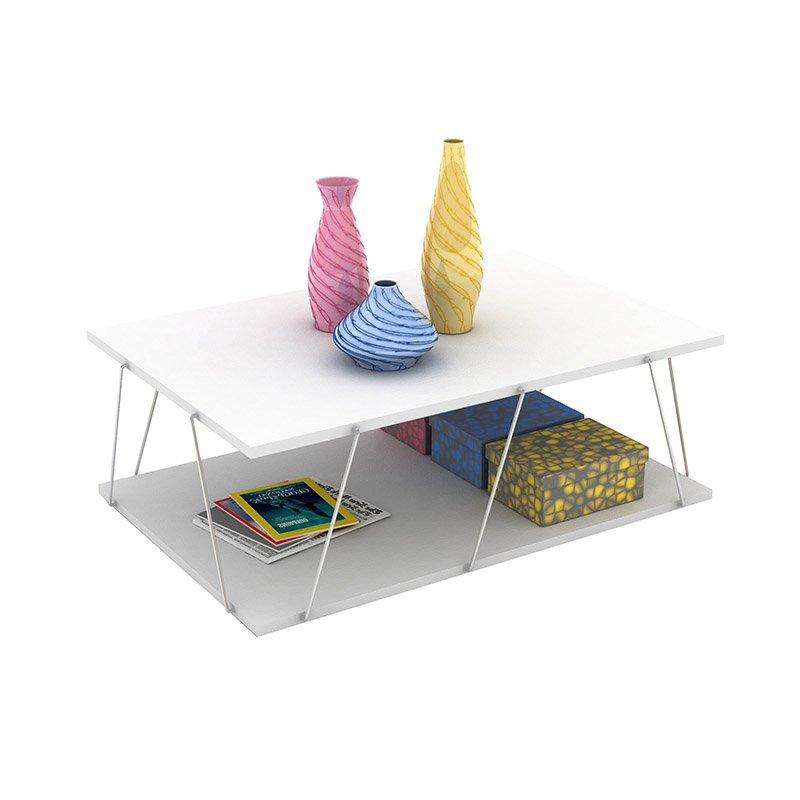 Τραπέζι σαλονιού TARS pakoworld χρώμα λευκό λεπτομέρειες χρωμίου 90x60x30,5εκ