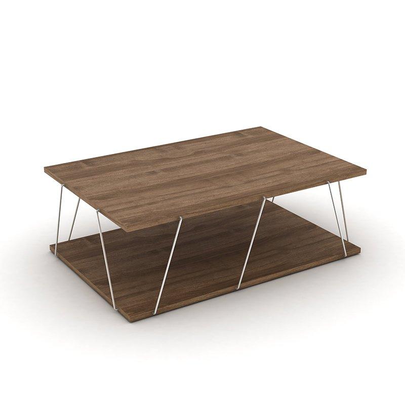 Τραπέζι σαλονιού TARS pakoworld χρώμα καρυδί λεπτομέρειες χρωμίου 90x60x30,5εκ