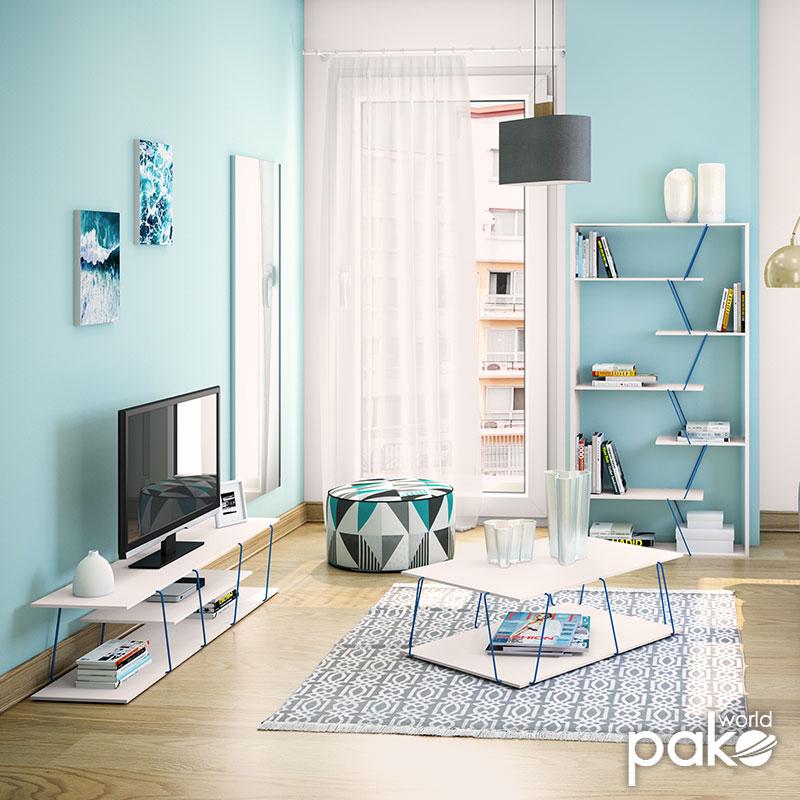 Τραπέζι σαλονιού TARS pakoworld χρώμα λευκό με μπλε λεπτομέρειες 90x60x30,5εκ