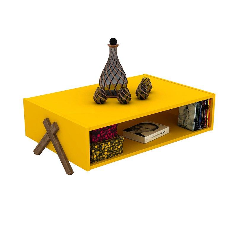 Τραπέζι σαλονιού KIPP pakoworld χρώμα κίτρινο-καρυδί 93,5x60,5x28,5εκ