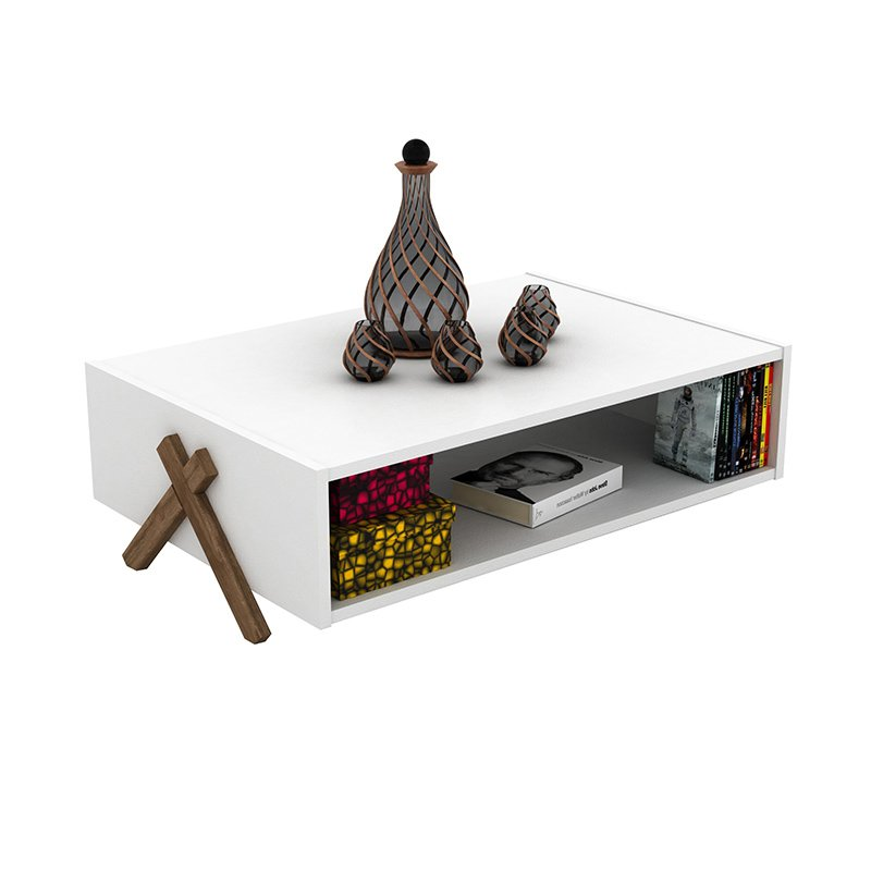 Τραπέζι σαλονιού KIPP pakoworld χρώμα λευκό - καρυδί 93,5x60,5x28,5εκ
