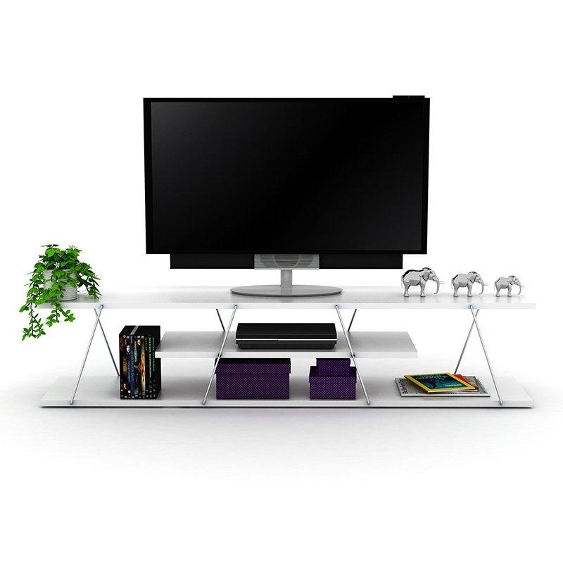 Έπιπλο τηλεόρασης TARS pakoworld χρώμα λευκό-λεπτομέρειες χρωμίου 143x32x31εκ