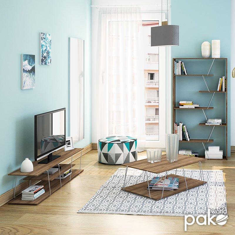 Έπιπλο τηλεόρασης TARS pakoworld χρώμα καρυδί-λεπτομέρειες χρωμίου 143x32x31εκ