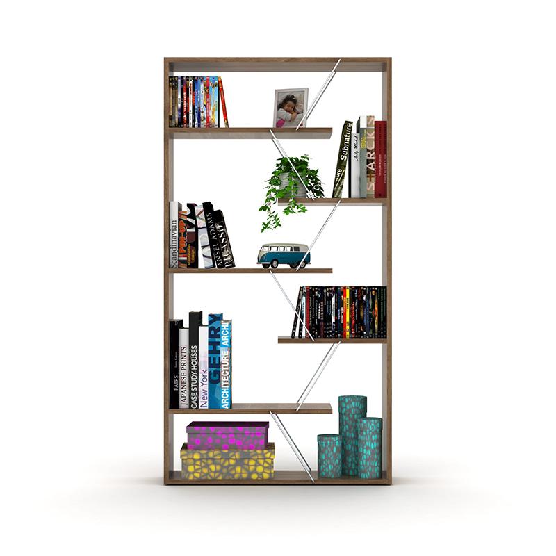 Βιβλιοθήκη TARS pakoworld  χρώμα καρυδί με λεπτομέρειες χρωμίου 84x24x157εκ