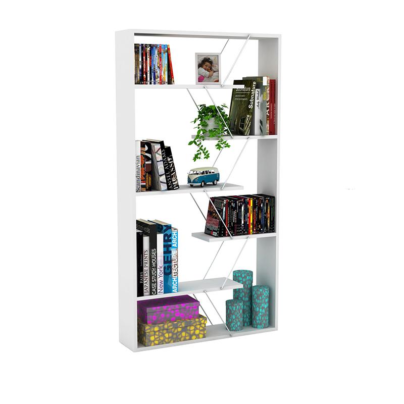Βιβλιοθήκη TARS pakoworld  χρώμα λευκό με λεπτομέρειες χρωμίου 84x24x157εκ