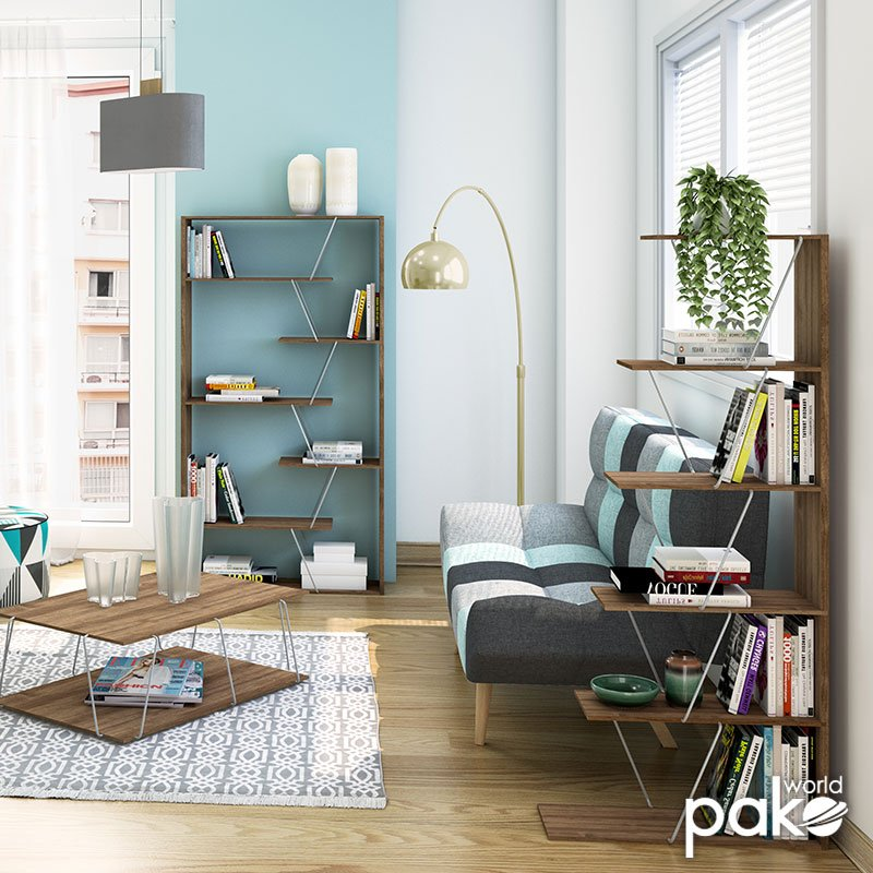 Βιβλιοθήκη mini TARS pakoworld χρώμα καρυδί-λεπτομέρειες χρωμίου 65x22x146εκ