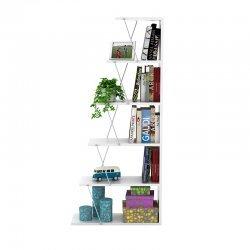 Βιβλιοθήκη mini TARS pakoworld  χρώμα λευκό-λεπτομέρειες χρωμίου 65x22x146εκ