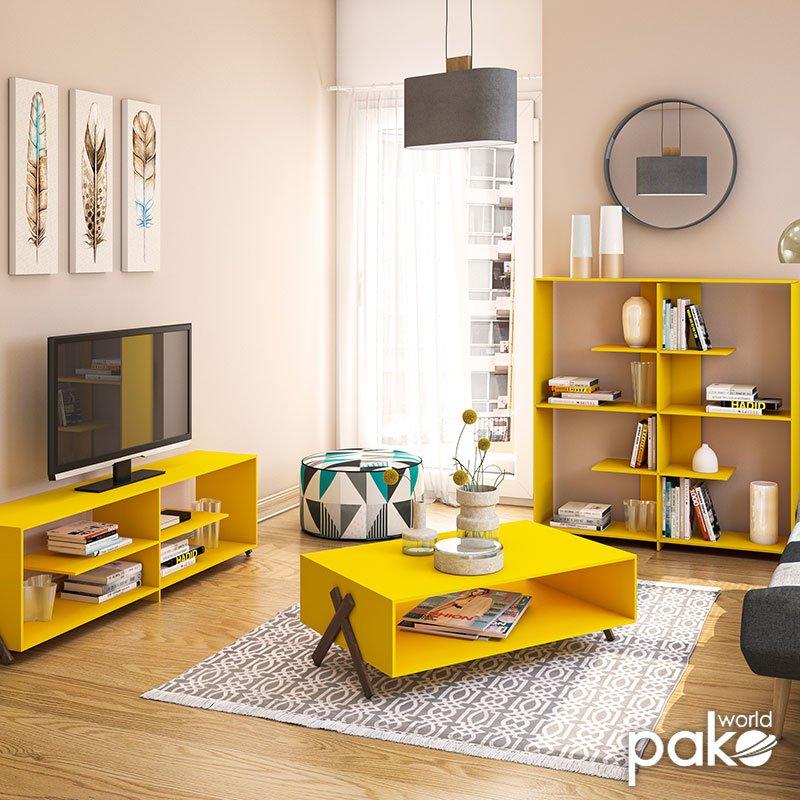 Έπιπλο τηλεόρασης KIPP pakoworld χρώμα κίτρινο-καρυδί λεπτομέρειες 145x31x39εκ