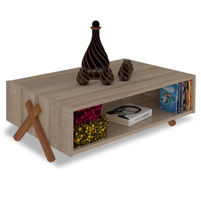 Τραπέζι σαλονιού KIPP pakoworld χρώμα sonoma-καρυδί 93,5x60,5x28,5εκ