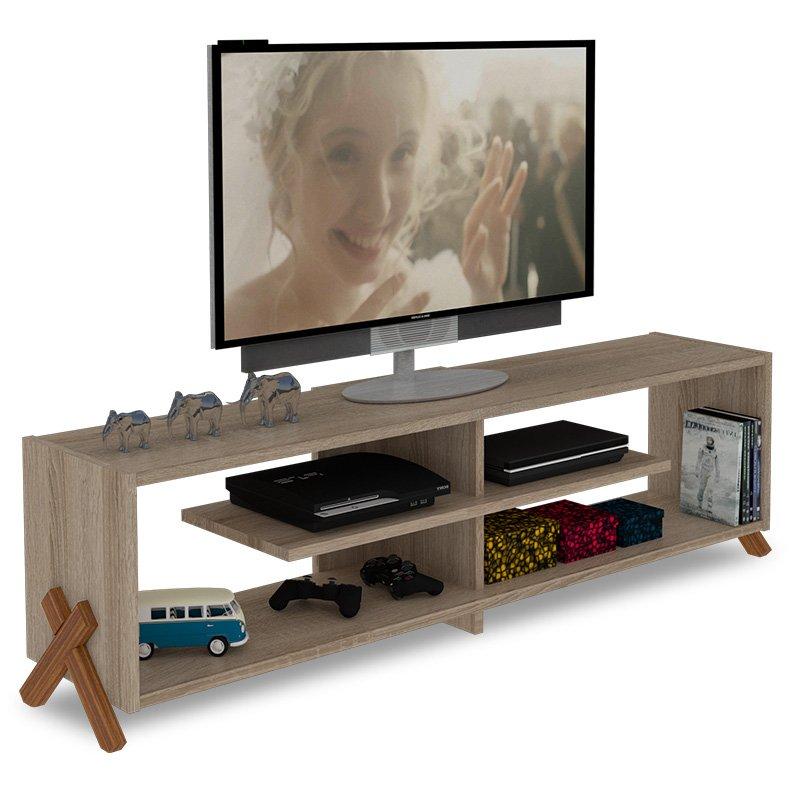 Έπιπλο τηλεόρασης KIPP pakoworld χρώμα sonoma-καρυδί 145x31x39εκ