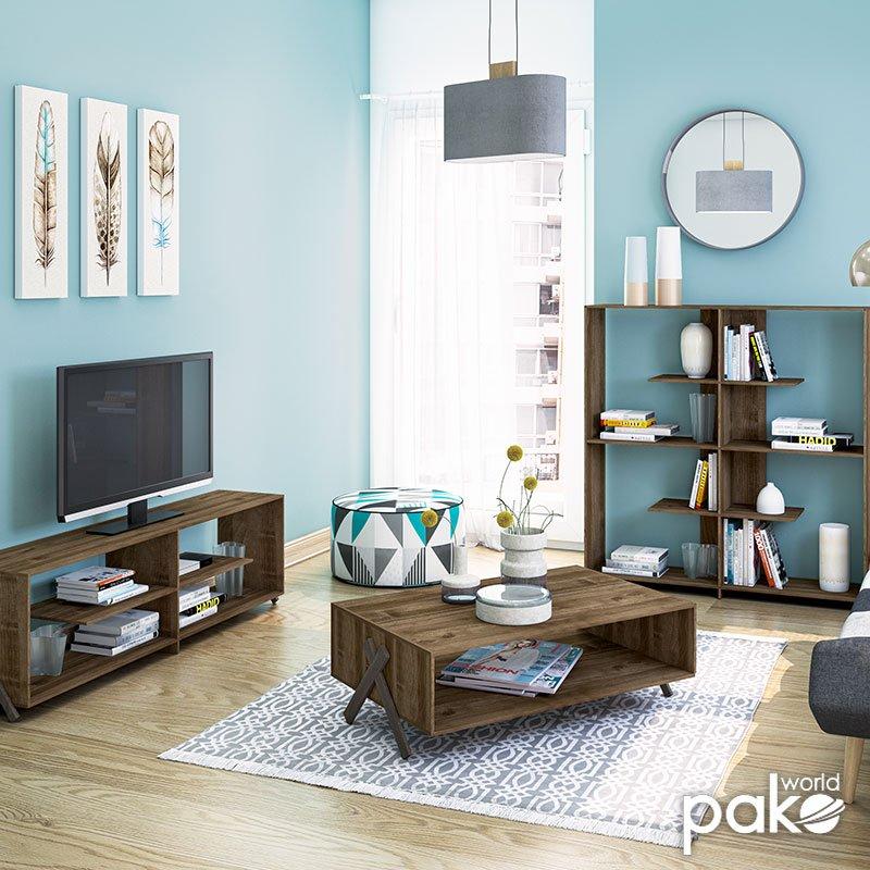 Τραπέζι σαλονιού Kipp pakoworld χρώμα καρυδί  93,5x60,5x28,5εκ