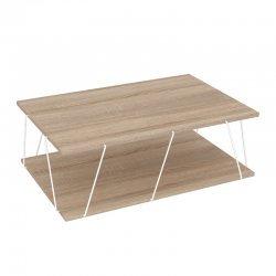 Τραπέζι σαλονιού TARS pakoworld χρώμα sonoma-λεπτομέρειες σε λευκό 90x60x30,5εκ