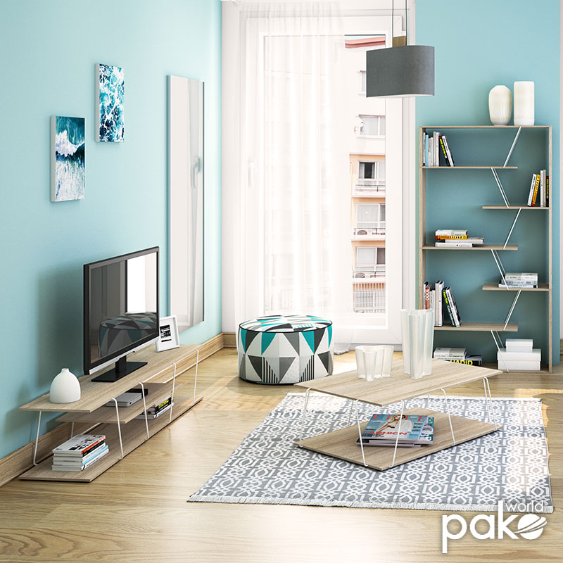 Βιβλιοθήκη TARS pakoworld χρώμα sonoma-λεπτομέρειες σε λευκό 84x24x157εκ