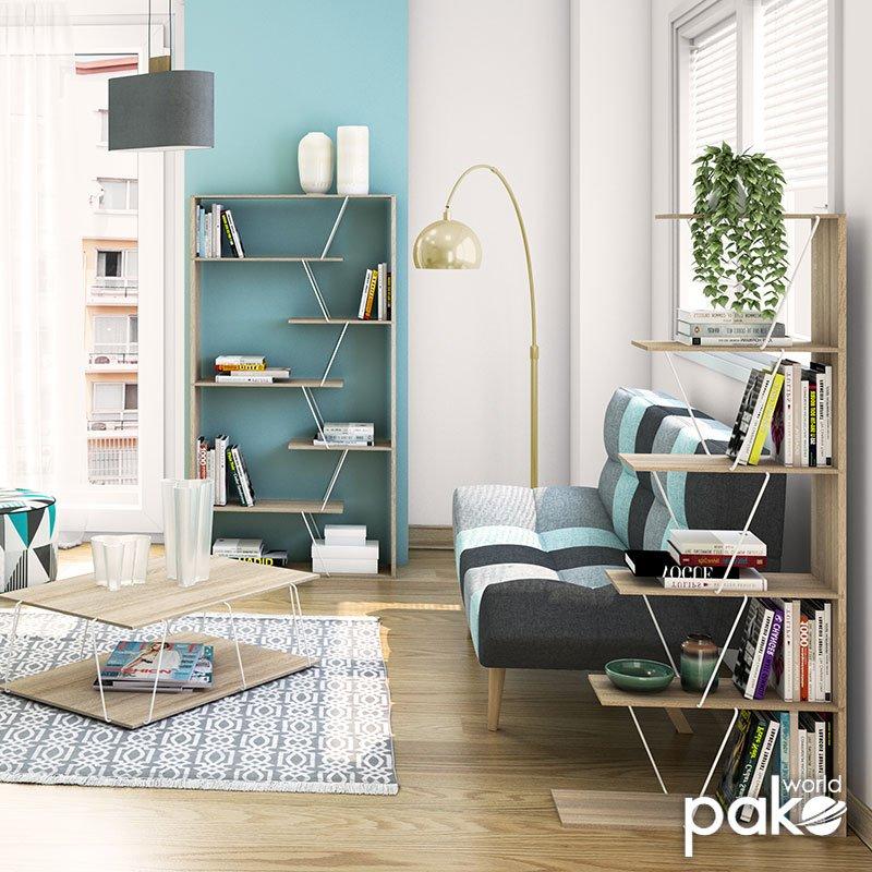 Βιβλιοθήκη mini TARS pakoworld χρώμα sonoma-λεπτομέρειες σε λευκό 65x22x146εκ