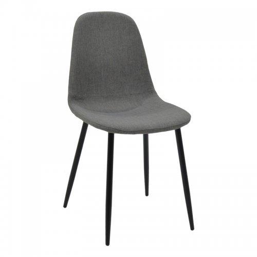 Καρέκλα Bella pakoworld μεταλλική μαύρη με ύφασμα ανθρακί