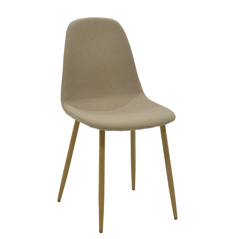 Καρέκλα Bella pakoworld μεταλλική φυσικό με ύφασμα μπεζ