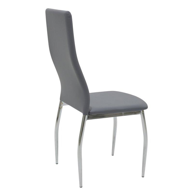 Καρέκλα Jella pakoworld μεταλλική χρωμίου PU γκρι