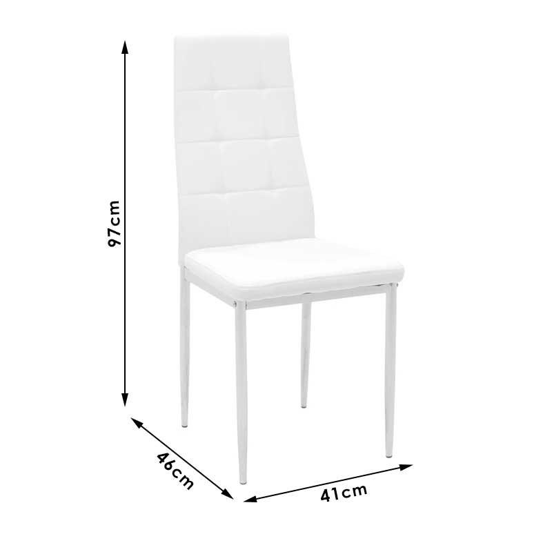 Καρέκλα Cube pakoworld μεταλλική χρωμίου PU λευκό