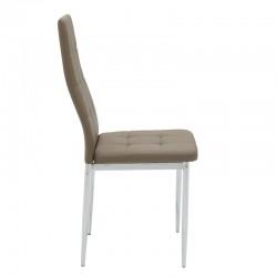 Καρέκλα Cube pakoworld μεταλλική χρωμίου PU σκούρο καφέ