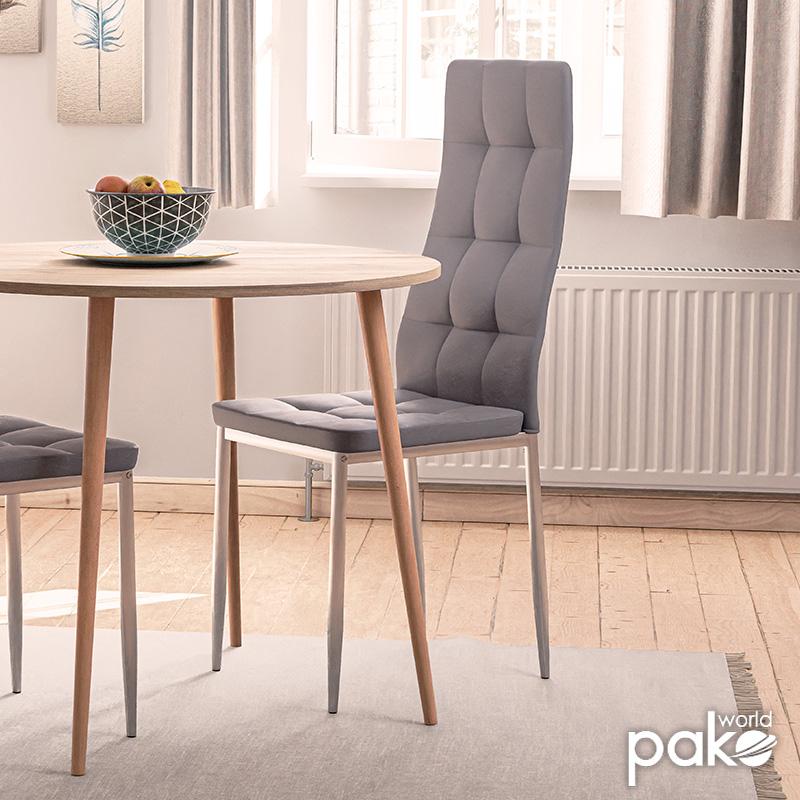 Καρέκλα Cube pakoworld μεταλλική χρωμίου PU γκρι