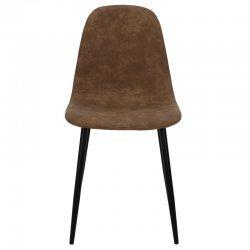 Καρέκλα Bella pakoworld μεταλλική μαύρη με pu antique καφέ