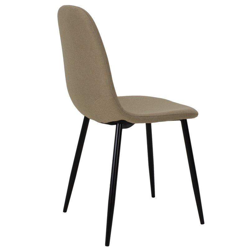 Καρέκλα Bella pakoworld μεταλλική μαύρη με ύφασμα μπεζ
