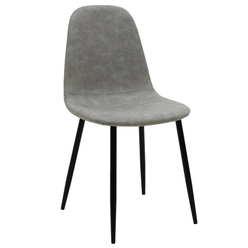 Καρέκλα Bella pakoworld μεταλλική μαύρη με pu antique γκρι
