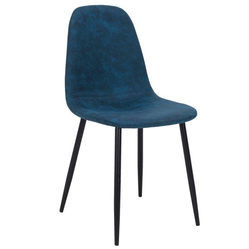Καρέκλα Bella pakoworld μεταλλική μαύρη με pu antique σκούρο μπλε