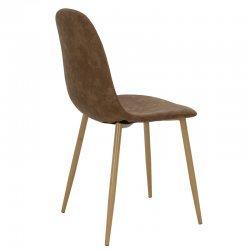 Καρέκλα Bella pakoworld μεταλλική φυσικό με pu antique καφέ