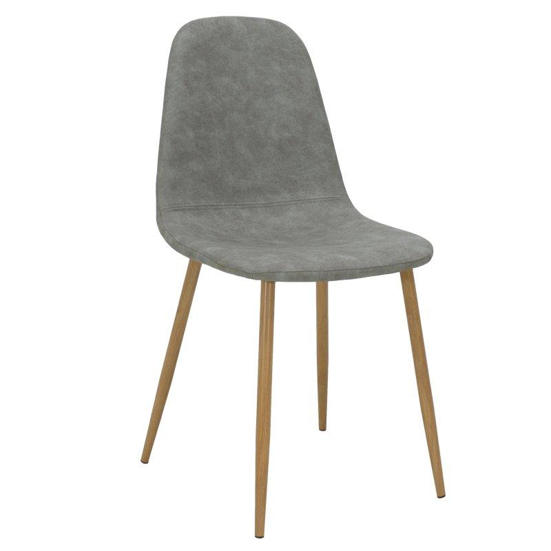 Καρέκλα Bella pakoworld μεταλλική φυσικό με pu antique γκρι