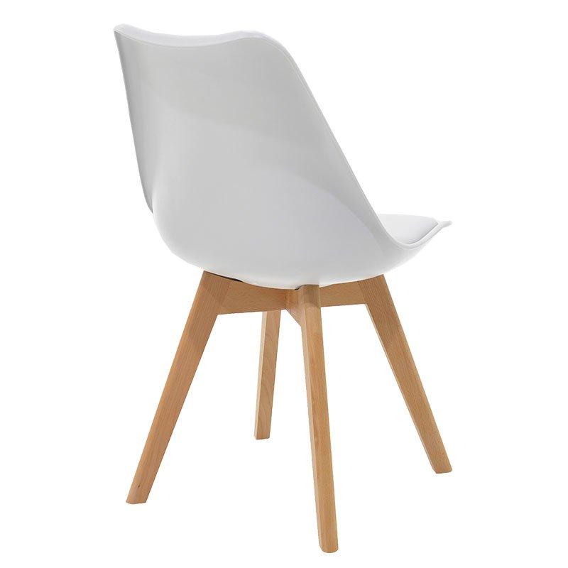 Καρέκλα Gaston pakoworld πολυπροπυλενίου-PU χρώμα λευκό - φυσικό
