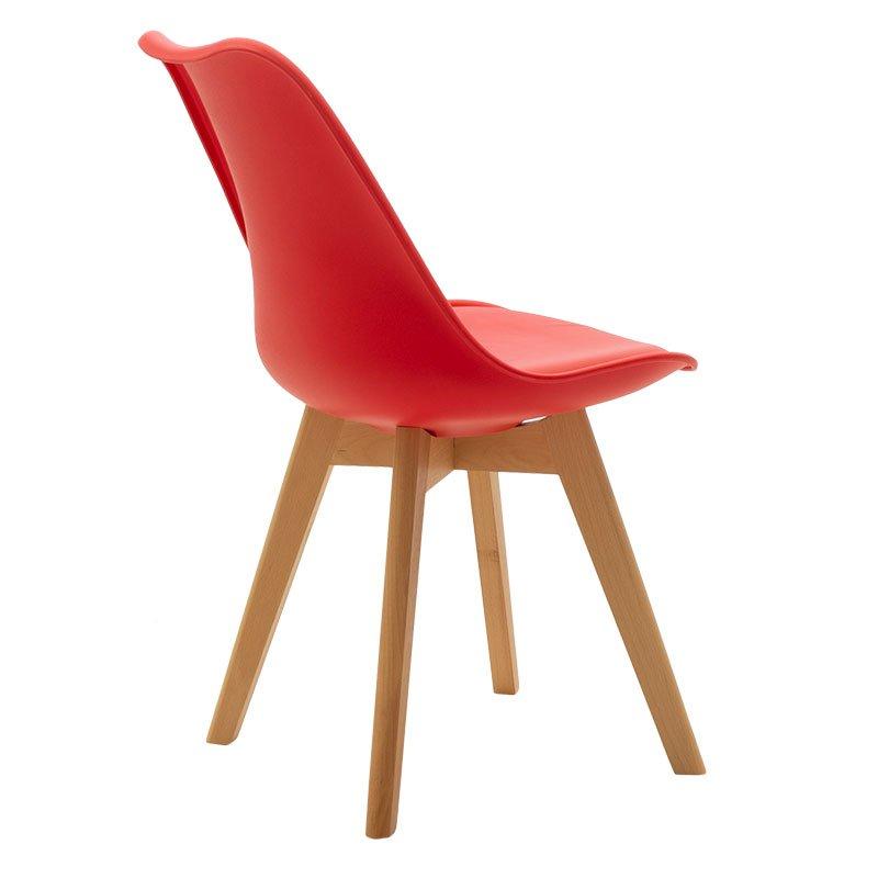Καρέκλα Gaston pakoworld πολυπροπυλενίου-PU χρώμα κόκκινο - φυσικό