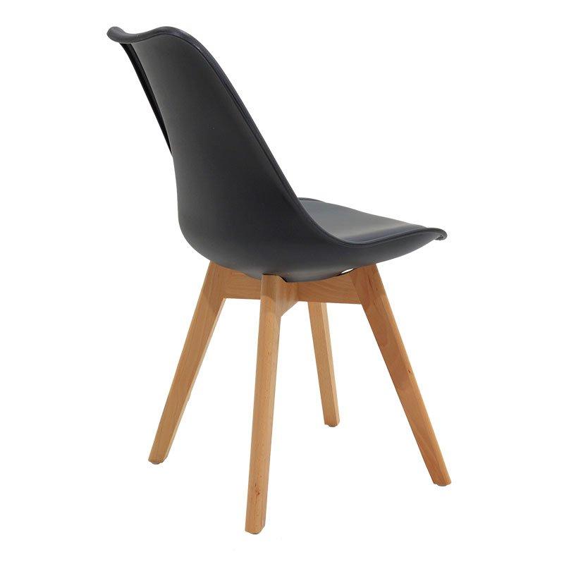 Καρέκλα Gaston pakoworld πολυπροπυλενίου-PU χρώμα μαύρο - φυσικό